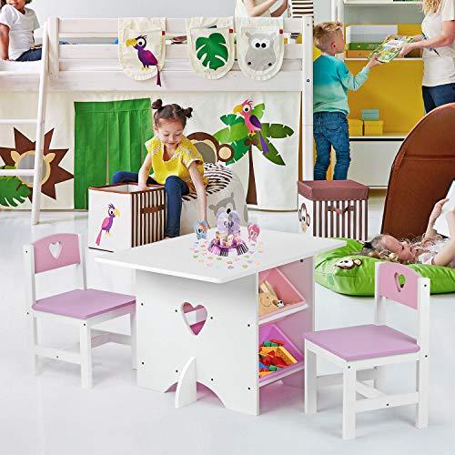 SmashingDealsDirect Houten Ontwerp Kinderkamer Speeltafel en Stoel Set Tafel en 2 Stoel Set met 4 Opbergdozen