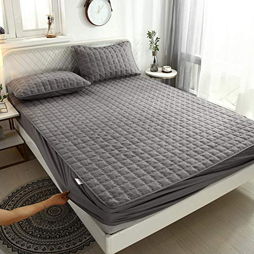 YFGY Fitted Bed Sheet king,Waterproof Thick Mattress Topper, Non-Slip Mattress Cover Hotel Bedroom Bedspread Dark gray 150 * 190cm
