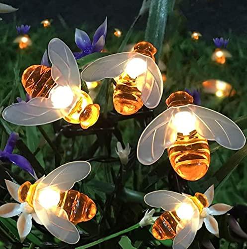 Cadena de luces solares 20LED al aire libre impermeable simulación miel abejas decoración para jardín decoraciones navideñas blanco cálido