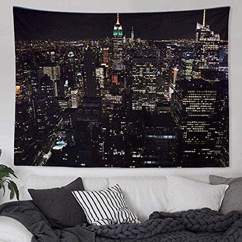 Tapiz Tapiz De Pared Tapices De Pared 3D New York City Night View Nordic Ins Decoración De La Superficie De La Pared Tapiz De Lona / Toalla De Sofá / Mantel 150*200Cm