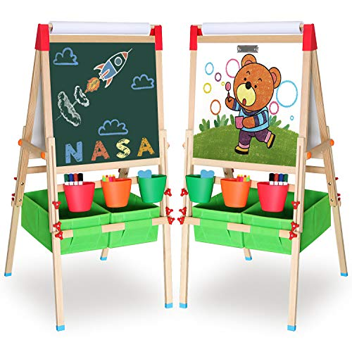 CIRO Standing Art Easel for Kids and Toddlers Adjustable Wooden White Board & Chalkboard Set Double-Sided Dry-Erase Board with a Paper Roll for Boys and Girls, 55' H x 25' W x 23' L