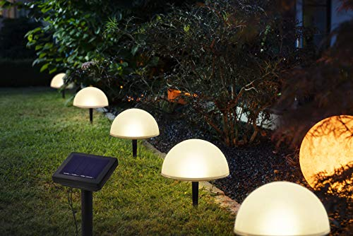 5-er Set Solar Gartenstecker Halbkugeln | mit Solar-Panel | ca. Ø 15 cm/Höhe: ca. 16 cm