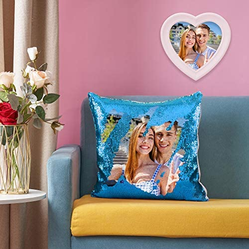 VEELU Custom Photo Sequin Pillow Cover Case Blue Personalized Mermaid Magic Reversible Sequin product image