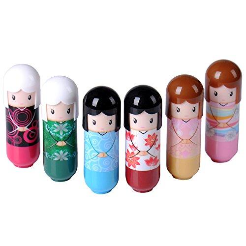 Burrocacao per labbra, portatile, da viaggio, idratante, carinissimo a forma di bambola, alla frutta, resistente all'acqua, accessori per la cura delle labbra per ragazze (colore casuale) - 2 pezzi