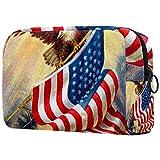 Bolsa de cosméticos Bolsas de Maquillaje para Mujeres, pequeña Bolsa de Maquillaje Bolsas de Viaje para artículos de tocador - Celebrando la Vieja Gloria American Vintage Flag