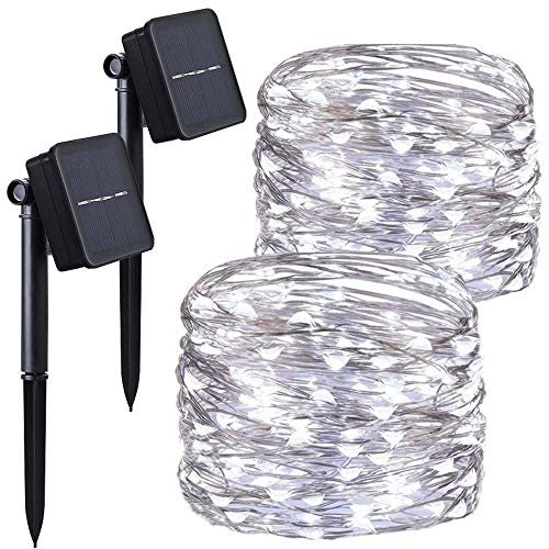 Chinety Guirnalda de Luces a Pilas, 8 Modos, 10 m, 100 Luces LED de Alambre de Cobre con Temporizador Remoto