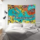 MEVIDA Cartoon World Map Tapestry Poster, Colorful Creative Map Wall Blanket Kids Room Wall Art Decor Map Dorm Study Room Hanging Cloth-d 200x150cm(79x59inch)