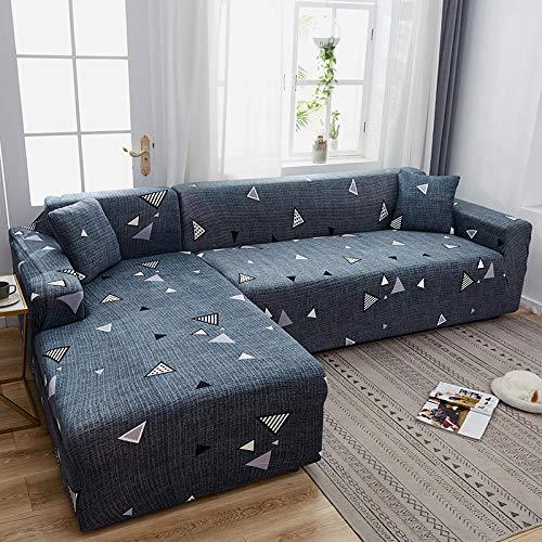 Protector Sofá Ajustables Estampado 1 Plaza, Fundas de sofá en Forma de L con Estampado de celosía, Fundas elásticas elásticas Antipolvo Protector de sofá M 90-140cm (1pcs)