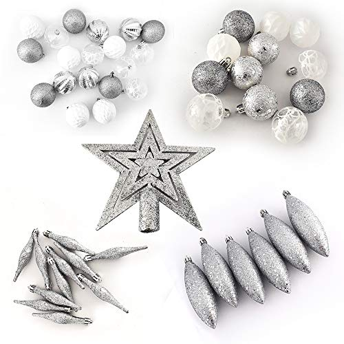 Schone Products (UK) Bolas de Navidad – Paquete económico de 50 – Decoración de árbol deslumbrante – El espíritu de la Navidad