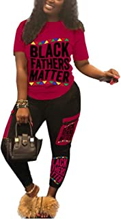 Elosele Women 2 Piece Outfits Short Sleeve Black Fathers Matter T-Shirt Bodycon Pants Set Tracksuit Jumpsuit