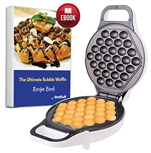 Hong Kong Egg Waffle Maker with BONUS recipe e-book - Make Hong Kong Style Bubble Egg Waffle in 5 minutes AC 120V, 60Hz 760W