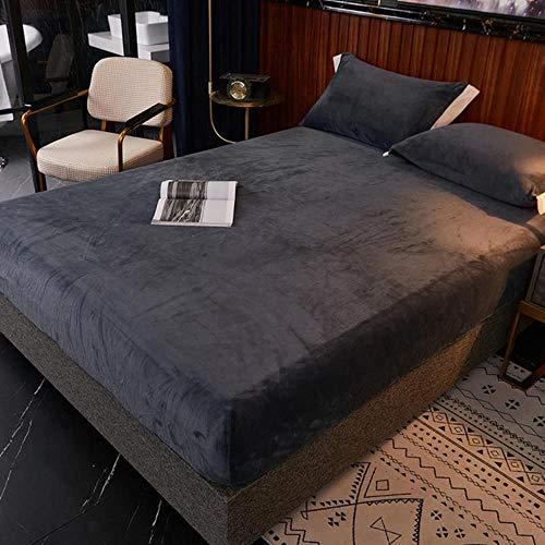 Cubierta de Cama cálida Franela de Color sólido Manta de Lana de Coral Sábana de Cama Drap Lit 2 Lugares para Winter King Bedsheet200 * 220