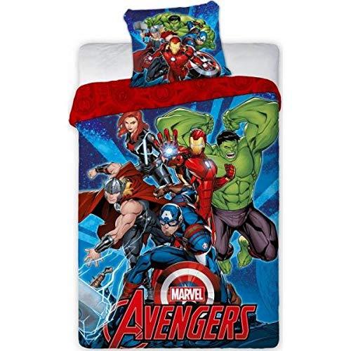 Housse de Couette 140x200 cm + Taie d'oreiller 65x65 cm Avengers (Rouge, 140X200)