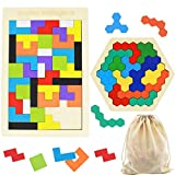 2 Pack Wooden Russian Blocks Puzzle + Hexagon Puzzles for Kids & Adults, Jigsaw Brain Teasers Toy 3D Russian Blocks Game Geometry Logic IQ STEM Educational Toys for Children