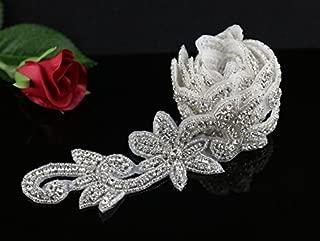 QueenDream Rhinestone Applique Beaded Crystal Applique 1 Yard Wedding Dress Garters DIY Acccessories
