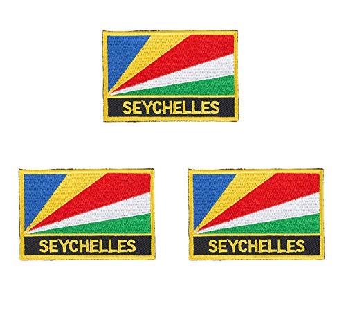 Aufnäher, bestickt, Seychellen, Flagge, Emblem, zum Aufbügeln oder Aufnähen, 3 Stück