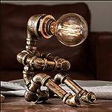 Lámpara de mesa Steampunk, lámpara de escritorio estilo robot creativo vintage, lámpara de tubería de agua industrial para mesita de noche, mesita de noche, bar, restaurante, cafetería