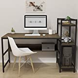 Dripex Computer Desk with 4 Tier Storage Shelves - 41.7'' Student Study Table with Bookshelf Modern Wood Desk with Steel Frame for Small Spaces Home Office Workstation (Dark Walnut)