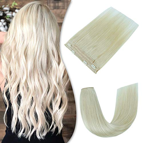 Creamily Halo Extensions Human Hair Platinum Blonde 16Inch Real Human Hair Extensions 80g Invisible Wire Flip Hair Extensions Couture Hairpiece with Secrect Fish Line (16Inch #60 Platinum Blonde)