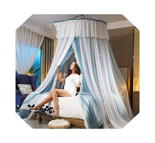 Malla Mosquitera |Princess Style Hung Dome Mosquitera Cortina de encaje redonda para el hogar Textil Cama Canopy Cuna Tienda de malla de poliéster Girls-lan con lámpara-1.8m (6 pies) Cama