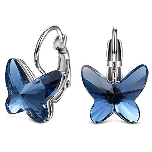 ELEGANCE PARISIENNE Modische Damen-Ohrringe Blue Butterfly SWAROVSKI ELEMENTS Flieder Schmuck Set Muttertag Blau