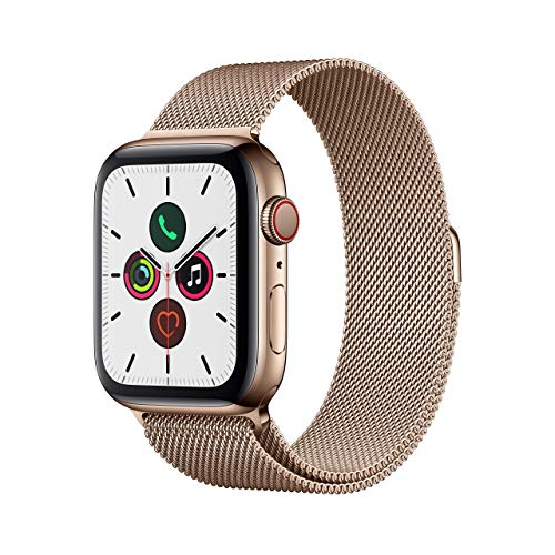 Apple Watch Series 5 (GPS + Cellular, 44 mm) Acero Inoxidable en Oro con Milanese Loop Oro