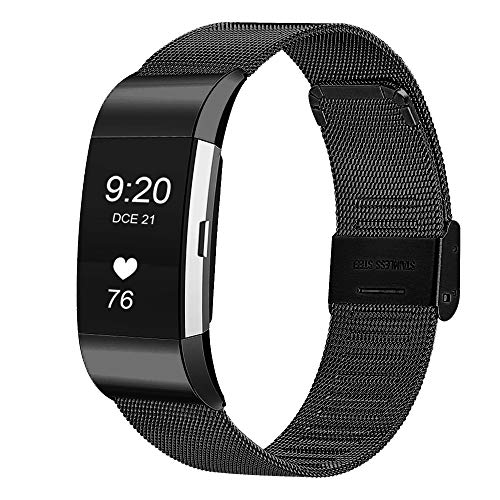 JUN1 Compatible with Fitbit Charge 2 Bands Stainless Steel Wristbands for Men Women Lightweight Replacement Straps Accessories for Fitbit Charge 2