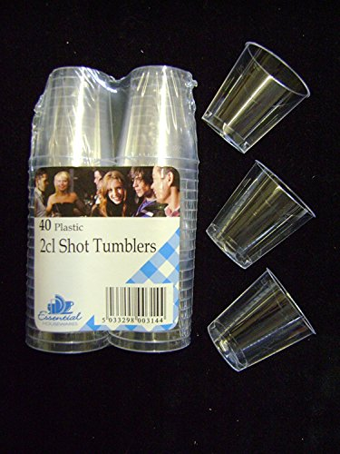 Essential Housewares 40 x transparente Einweg-Schnapsgläser aus Kunststoff.