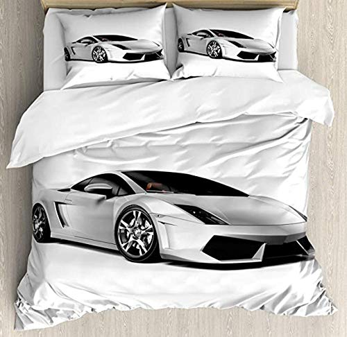 HUA JIE Cars Duvet Cover Set, Sports Car with Futuristic Inspired Wheels Reflection Design Print, 3 Piece Bedding Sets with 2 Pillow Shams