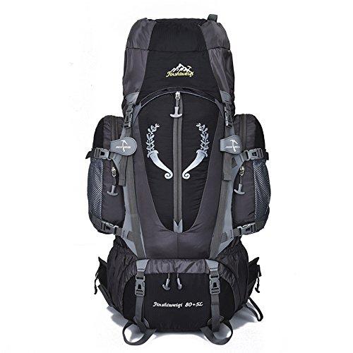 MCLJR Sac à Dos de randonnée, 85l - Sac à Dos de Camp léger et imperméable, Convient aux Hommes et aux Femmes Ski Trekking Escalade Alpinisme,Black