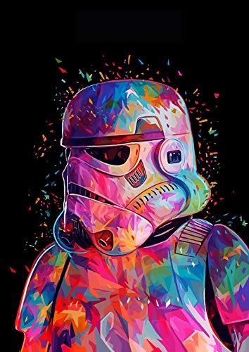 """TAHEAT New Paint by Numbers DIY-Acryl-Malkit für Kinder und Erwachsene Anfänger-16 x 20\"""" New Star Wars-Angriffsmuster Malen nach Zahlen mit 3 Pinseln ohne Rahmen"""