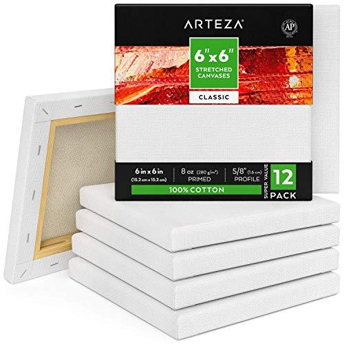 ARTEZA Lienzos blancos estirados e imprimados | 15,2x15,2 cm | Pack de 12 | 100% algodón | Lienzos de pintura acrílica, óleo y medios húmedos | Para artistas profesionales, aficionados y principiantes