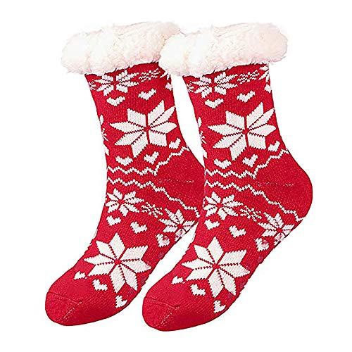 Fixget Weihnachtssocken, 1 Paare Hausschuhe Socken Weihnachten Baumwollsocken Festliche Socken, Winter Socken Geeignet für Damen und Herren(Erwachsener) (Rot)