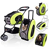 5 in 1 Pet Carrier + Backpack + CarSeat + Pet Carrier Stroller + Carriers with Wheels for Dogs and Cats All in...