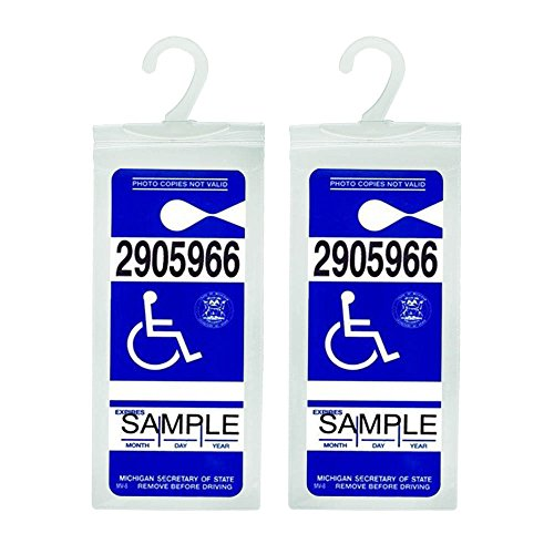 Handicap Placard Holder - Ultra Transparent Disabled Parking Permit Placard Protective Holder Cover with Large Hanger by Tbuymax (Set of 2)