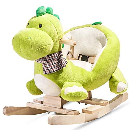 Benedict Rocking Animal Dragon - Rocking Horse Toy with Backrest Rocker, Children's Rocking Chair, Plush Baby Toy/Rocking Horse Rocking Toy with Backrest Rocker Made of Soft Plush Baby Cuddly Toy