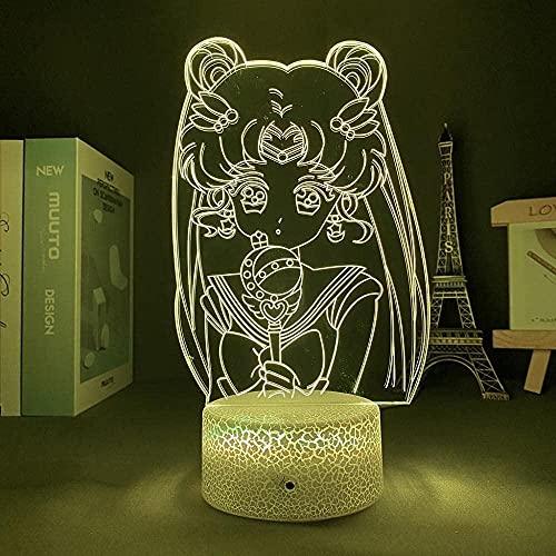 Lámpara de ilusión 3D de humor LED de noche de Sailor Moon USB Interior decorativo ideal para un cuarto de niños cumpleaños grieta base