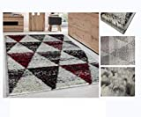 Alfombra de Salón Frise Pelo Largo Tupido Triangulos Geometricos Modernos Color (Granate, 190_x_280_cm)
