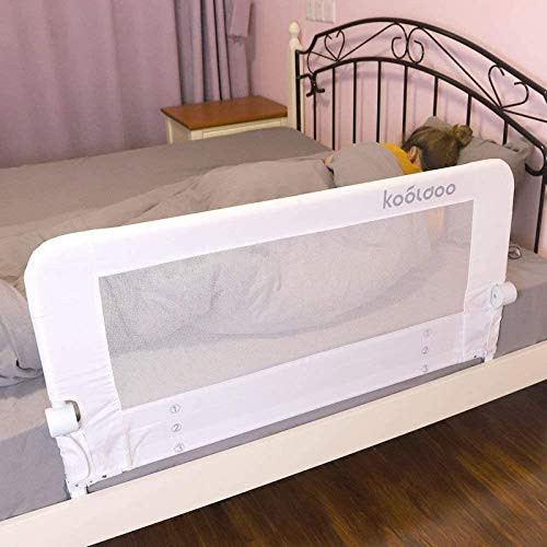 Toddlers Safety Bed Rail 43 Inches Fold Down Children Bed Guard with NBR Foam Include 1pcs Seat Belt (White)