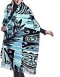 Tengyuntong Bufanda de mantón Mujer Chales para, Bufanda para mujer con diseño floral azul de hibisco hawaiano, gran, suave, sedoso, pashmina, chal de cachemira, abrigo