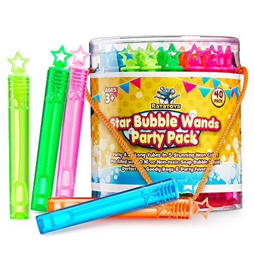 Star Bubble Wands Party Favors Pack Of 40 By Ratatoys: Fourty Mini Neon Bubble Wands   Odor-Free Non-Toxic Kids' Bath Toy/Birthday Treats Bubble Maker Toys for Kids   Outdoor Summer Events & Celebration Toy Gift