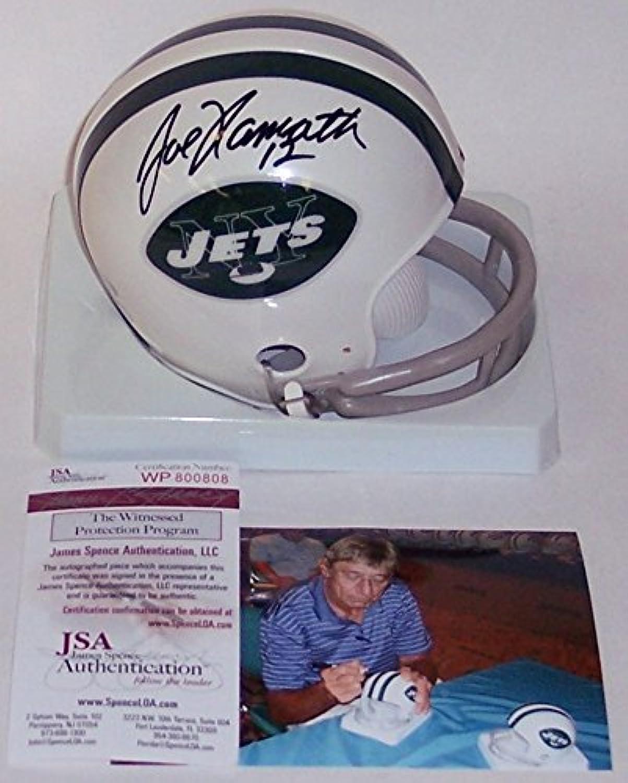 Joe Namath Autographed Hand Jets 2Bar Mini Helmet  JSA