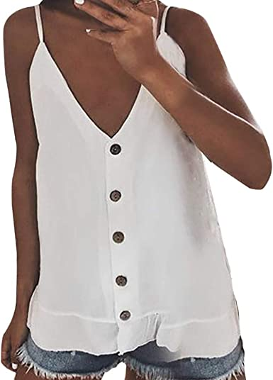 Mujer Camisa de Tirantes con Botones, Camisa Casual Tops ...
