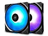 DEEP COOL RF140 Ventilador para PC Chasis, Paquete de 2 * 140mm RGB PWM Ventiladores Silenciosos de Caja, Incluye Controlador de Cable y un Hub, RGB Sync