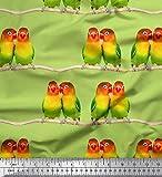 Soimoi Grun Seide Stoff Zweig & bunter Papagei Vogel