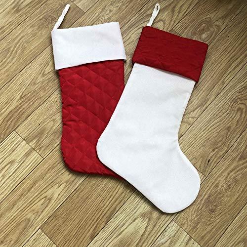 Tenrany Home Zestaw 2 skarpet bożonarodzeniowych, 45 cm czerwona i biała jutowa pikowana skarpeta świąteczna do domu wiejskiego rustykalna świąteczna dekoracja kominka wisząca (czerwona + biała)