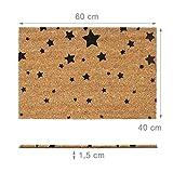 Relaxdays Fußmatte Kokos Motiv STERNE 40 x 60 Kokosmatte mit rutschfester PVC Unterlage Türmatte und Fußabtreter aus Kokosfaser als Schmutzfangmatte und Sauberlaufmatte oder Türvorleger, schwarz - 5