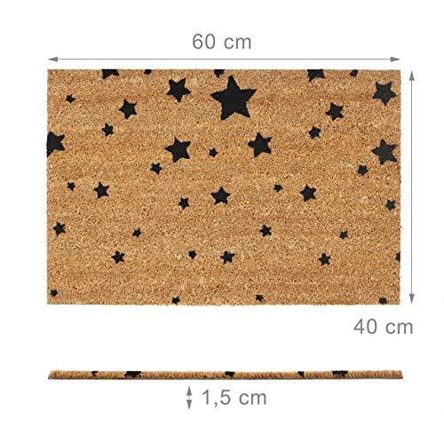 Relaxdays Felpudo para la Entrada del hogar, Patrones de Estrellas, 40 x 60 cm, Fibra de Coco y PVC, Antideslizante, Color Negro, Tela, Gris, 1,5 x 60 x 40 cm