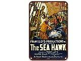 NNHG Placa de póster de The Sea Hawk de 1924 con diseño de película vintage pintada para decoración de pared, baño, fiesta, sala de estar, garaje, 20,3 x 30,4 cm