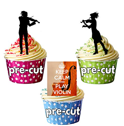 AK Giftshop PRE-CUT houden kalm en spelen viool, viool spelers, violist Silhouette - eetbare stand-up cupcake toppers (pak van 12)